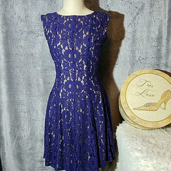 Gabby Skye Blue Lace Fit And Flare Dress 10